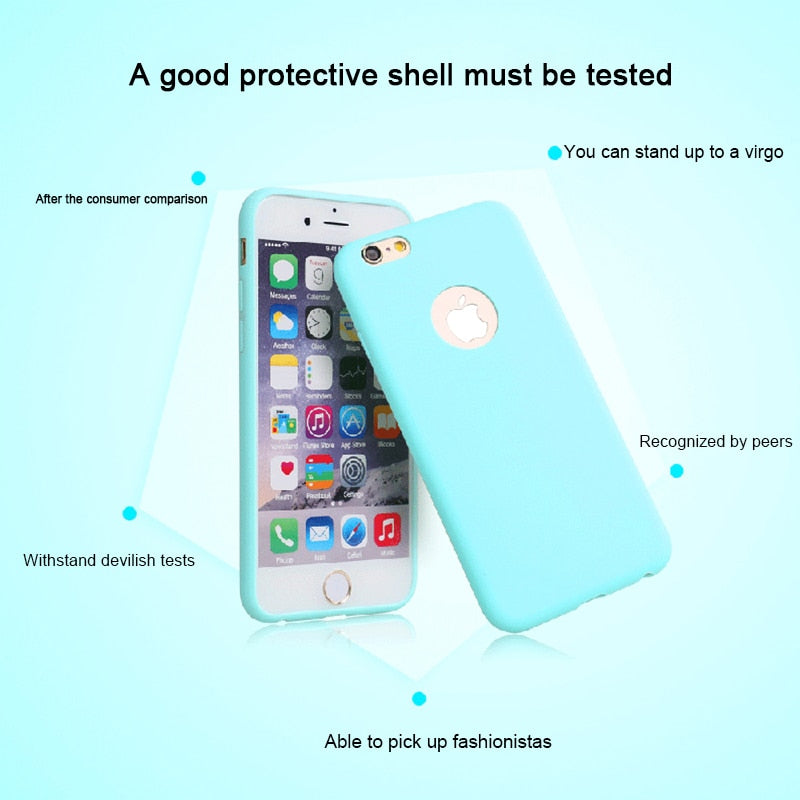 Original Soft Silicone Case for iPhone 6 S 6S 7 8 Plus 5 5S X 10 XR XS Max 6Plus 6SPlus 7Plus Cute Candy Anti-knock rubber Cover