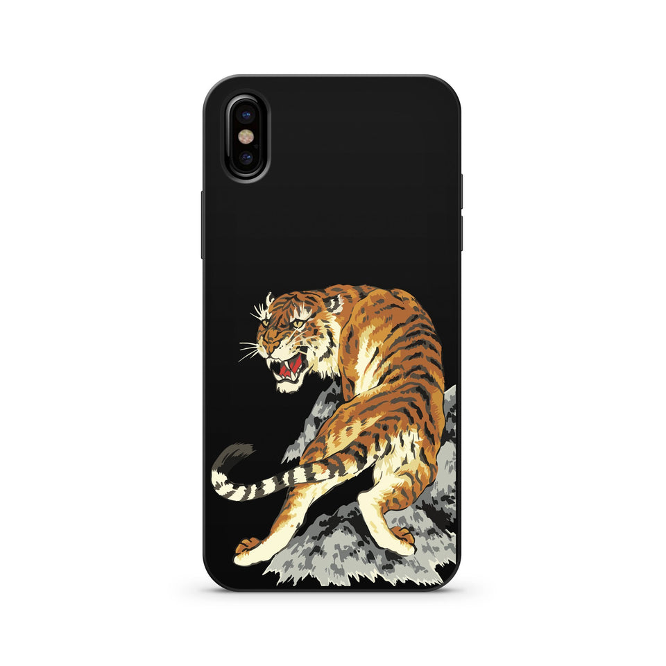 Black Wood Printed iPhone Case / Samsung Case Phone Cover - Tiger Intarsia