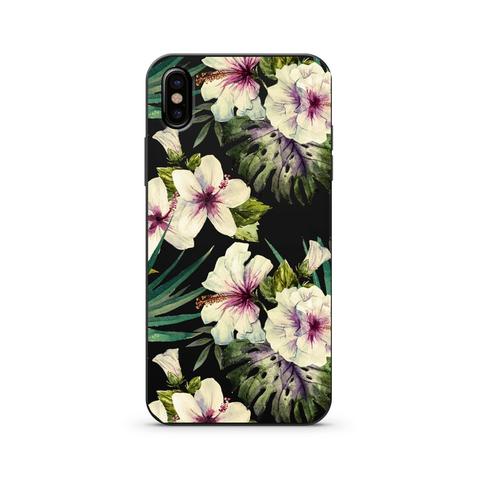 Black Wood Printed iPhone Case / Samsung Case Phone Cover - Watercolor Hibiscus
