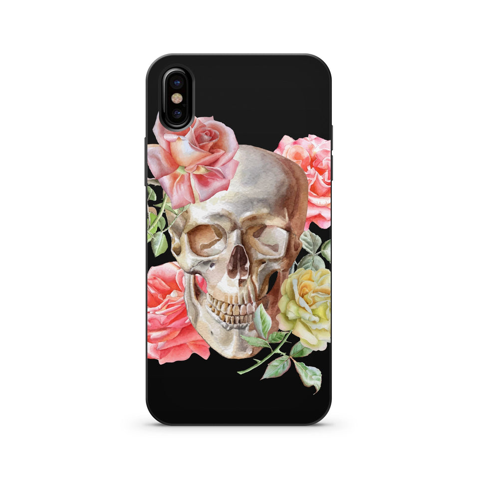 Black Wood Printed iPhone Case / Samsung Case Phone Cover - Watercolor Skull