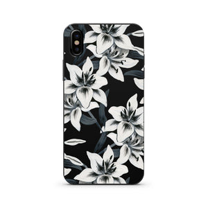 Black Wood Printed iPhone Case / Samsung Case Phone Cover - Watercolor Lilies