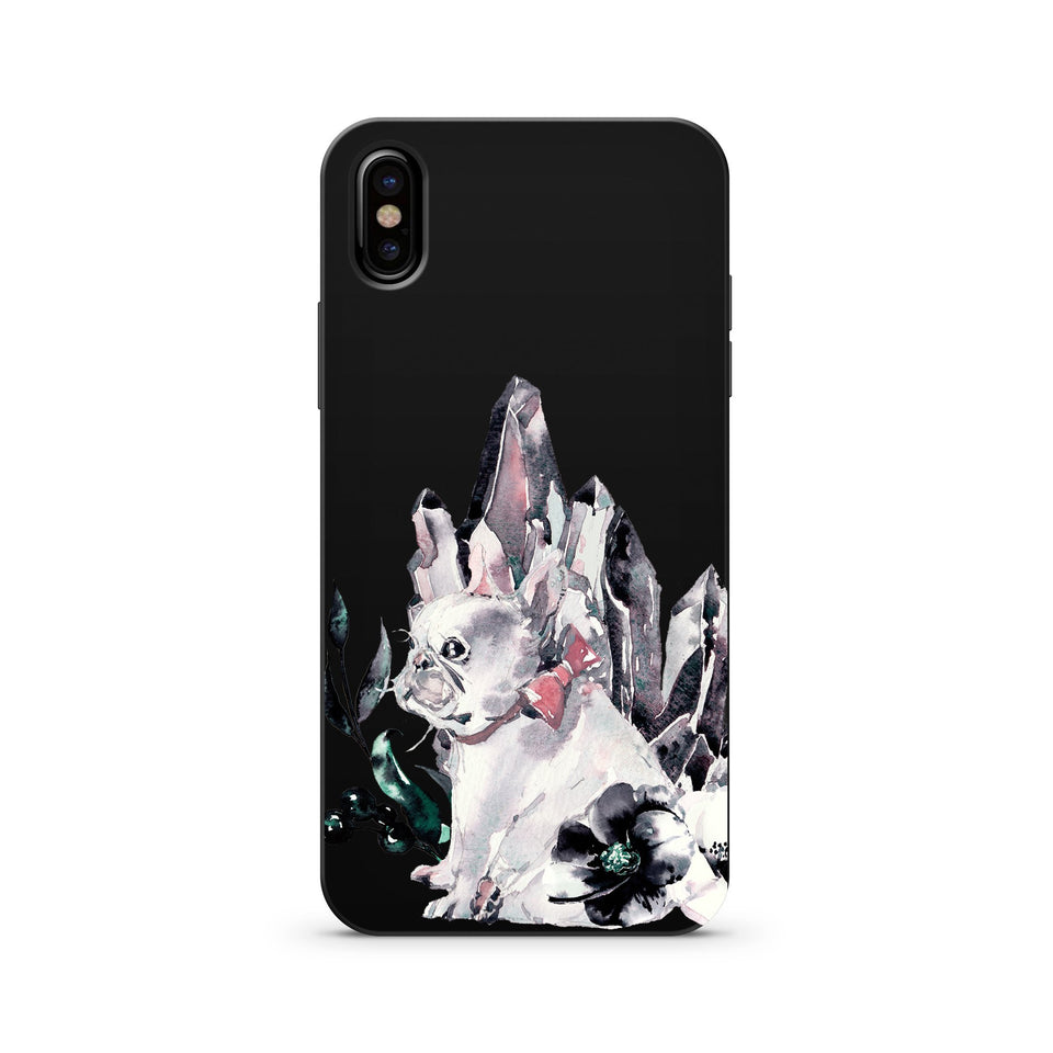 Black Wood Printed iPhone Case / Samsung Case Phone Cover - Angel Dust (Pug)