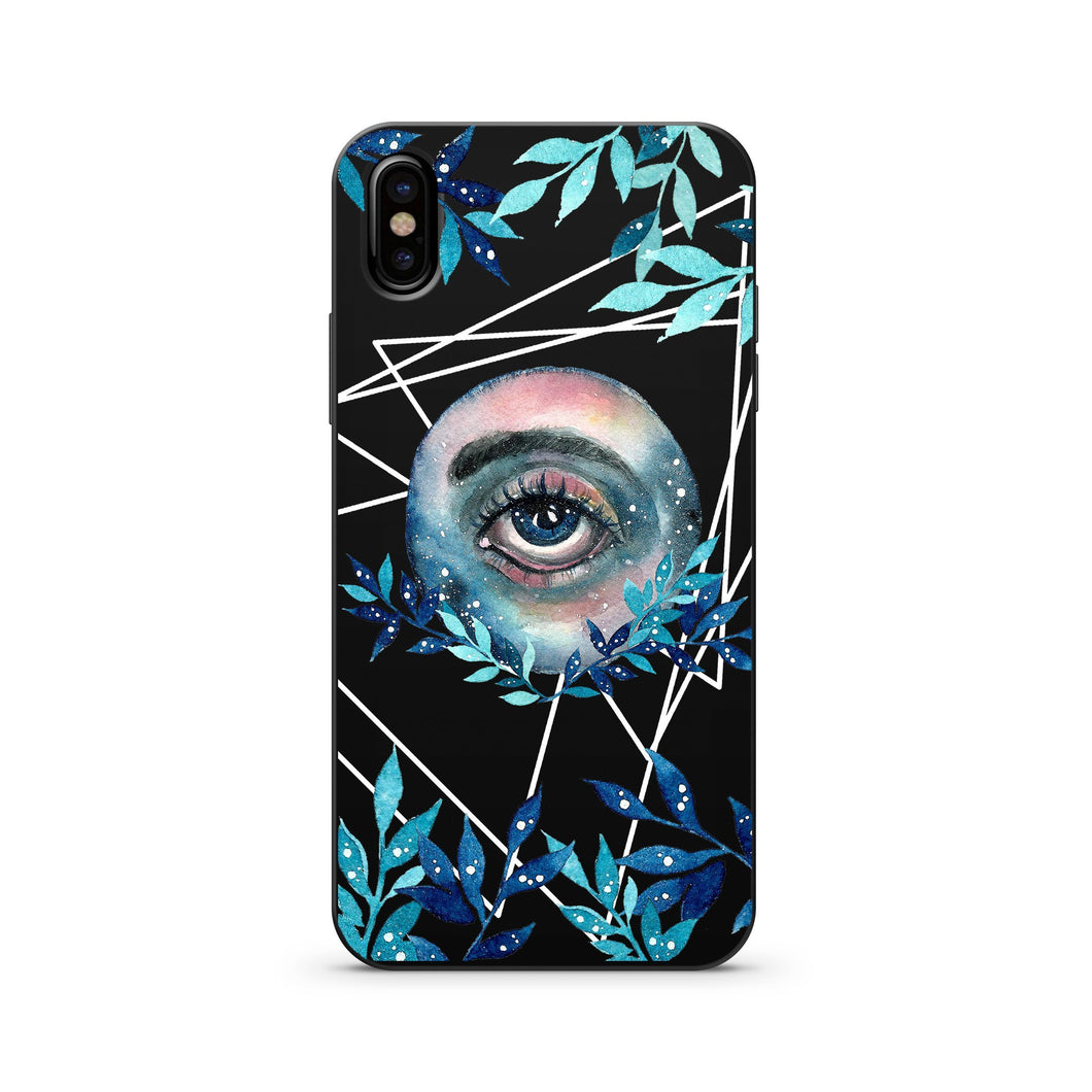 Black Wood Printed iPhone Case / Samsung Case Phone Cover - All Seeing Cosmo
