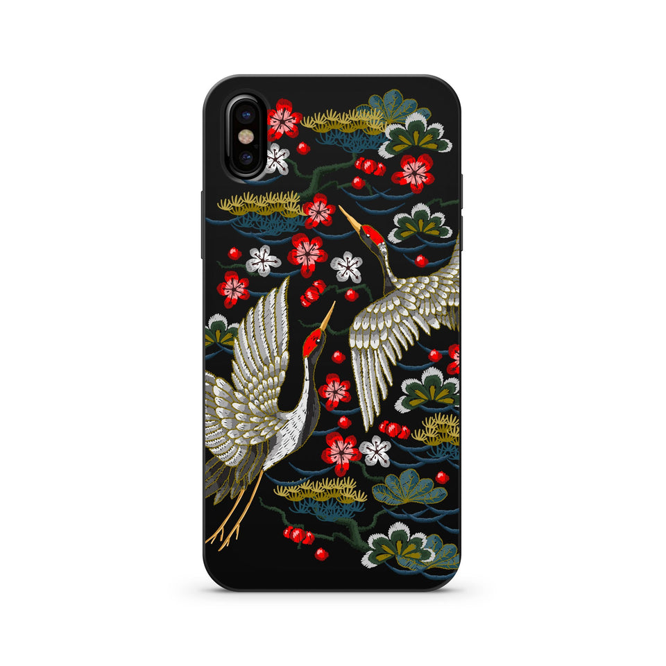 Black Wood Printed iPhone Case / Samsung Case Phone Cover - Japanese Cranes