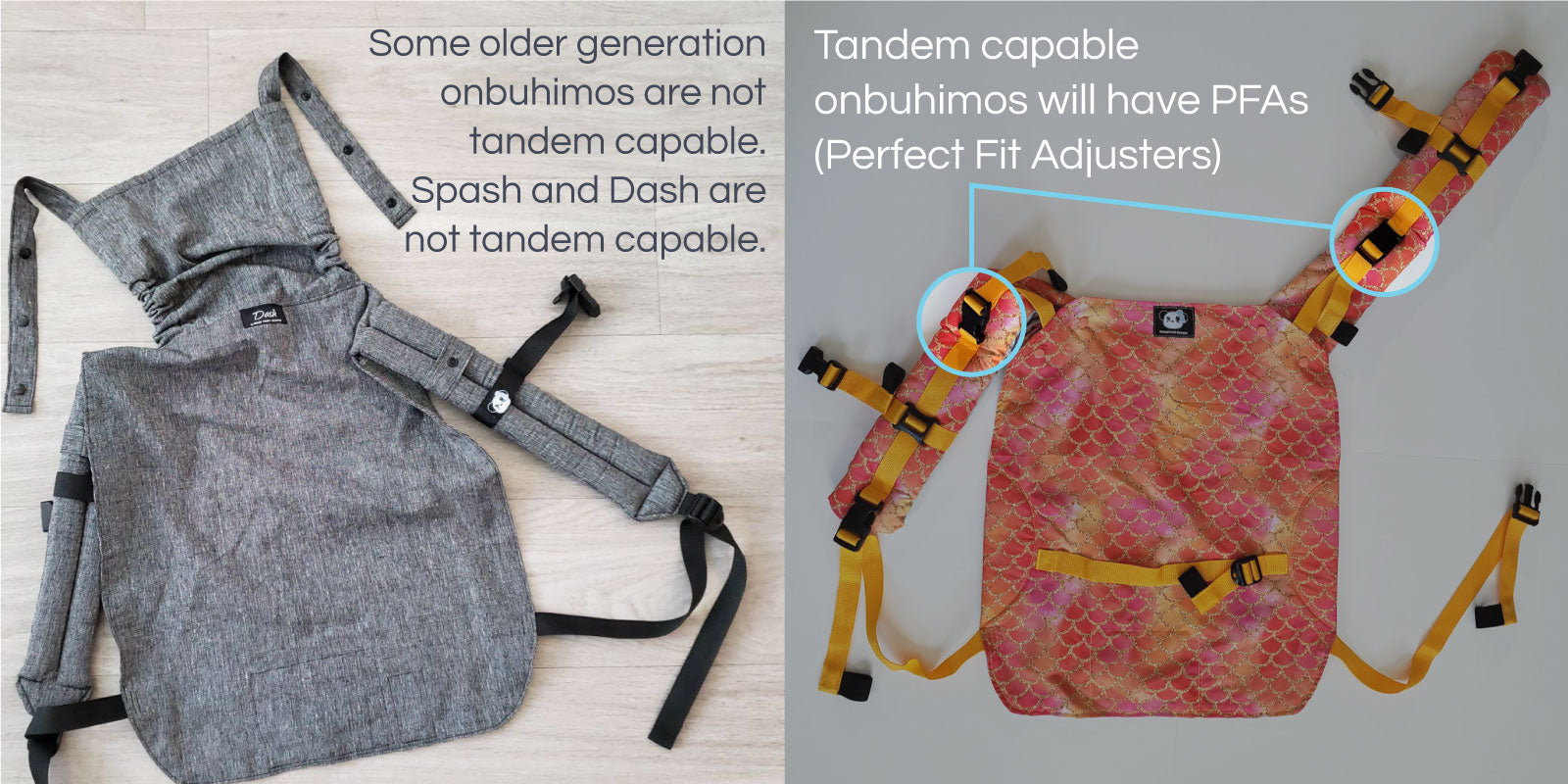 Tandem capable onbuhimos with have the perfect fit adjuster