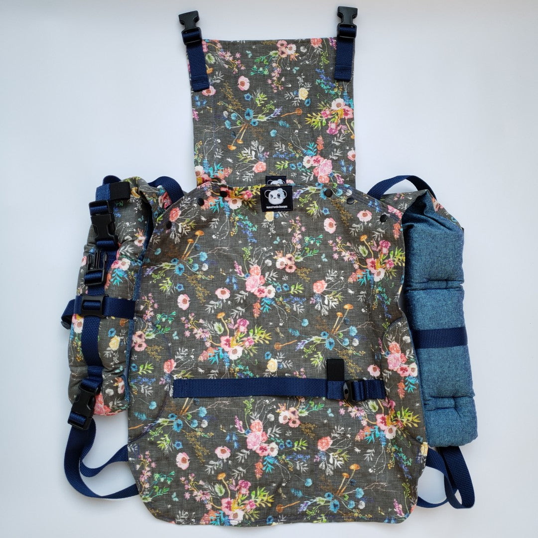 Wild Meadow (Charcoal) - Linen Duo Buckle Onbuhimo