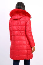 RED QUILTED DOWN JACKET - Hijab's Store