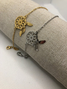 Thin chain bracelets with leaf circle - Hijab's Store