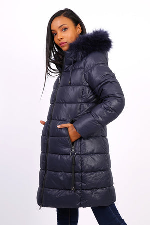 NAVY BLUE QUILTED DOWN JACKET - Hijabs Laden