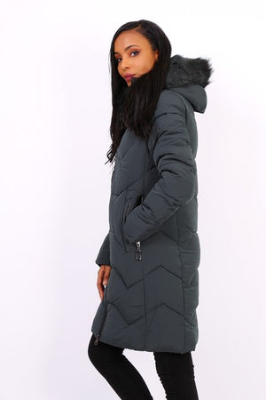 GREEN DOWN JACKET WITH FUR