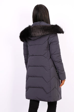 GRAY DOWN JACKET WITH FUR