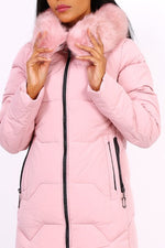 PINK DOWN JACKET WITH FUR