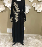 Karima Belted Dress with Embroidered Sleeves