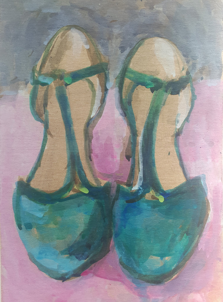 Green Shoes Painting by Julia Laing