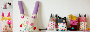 Colourful handmade textile soft sculptures