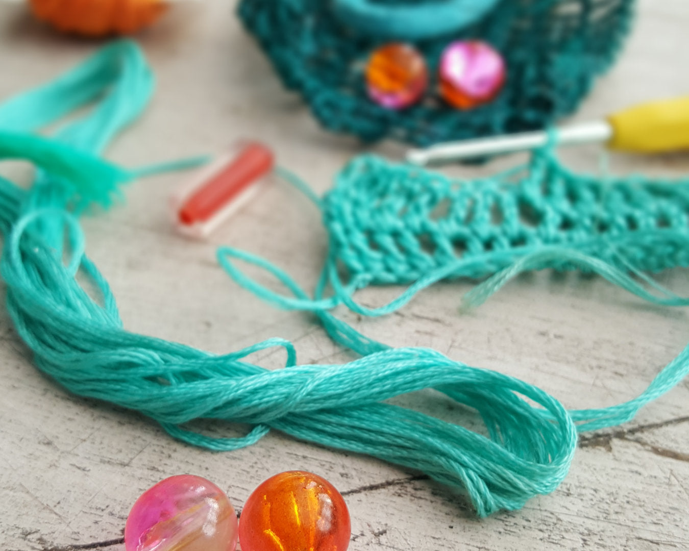 beads and crochet materials