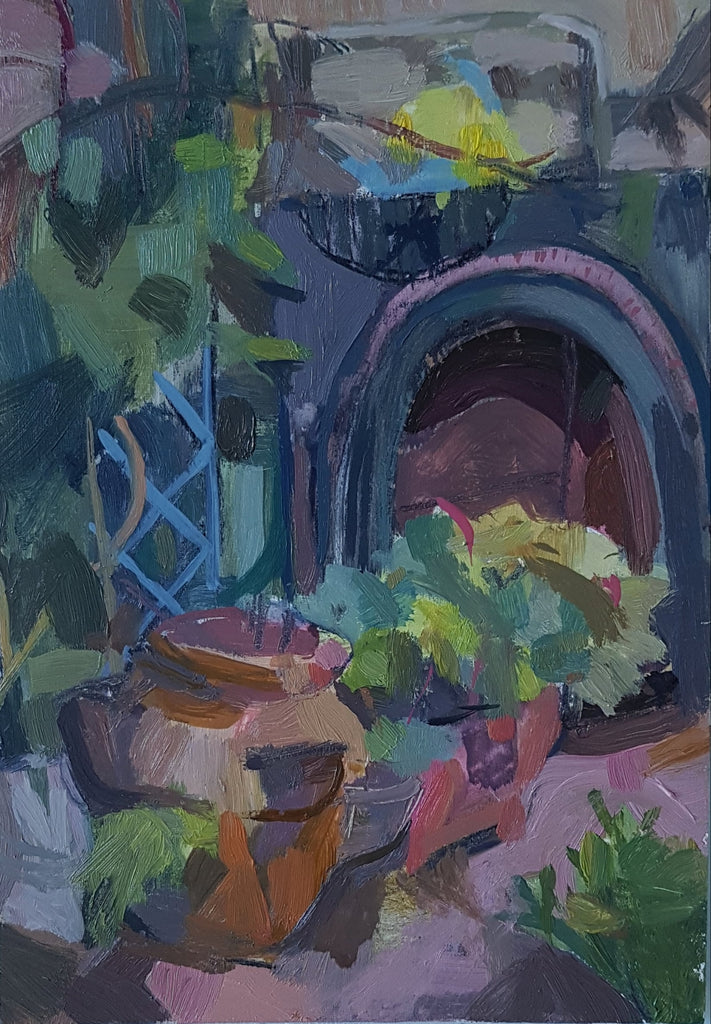 Garden painting by Julia Laing 2021 5x7 inches oil paint on panel
