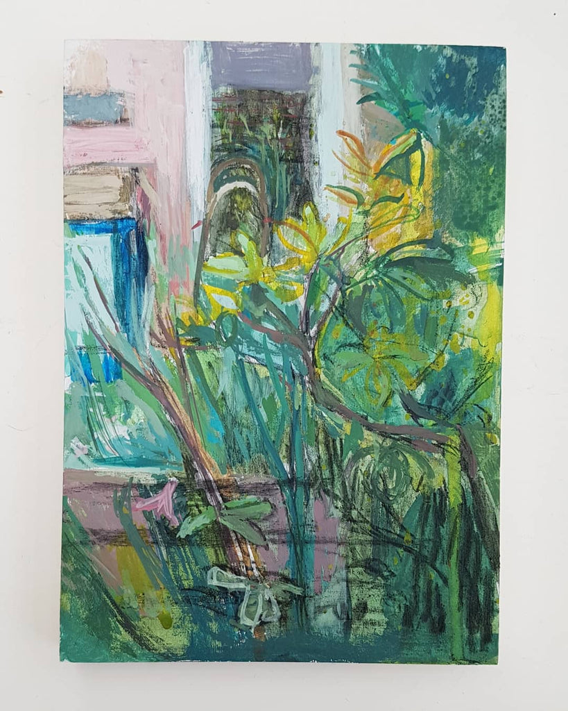 Garden painting. 5x7 inches. Gouache and charcoal on board by Julia Laing 2021