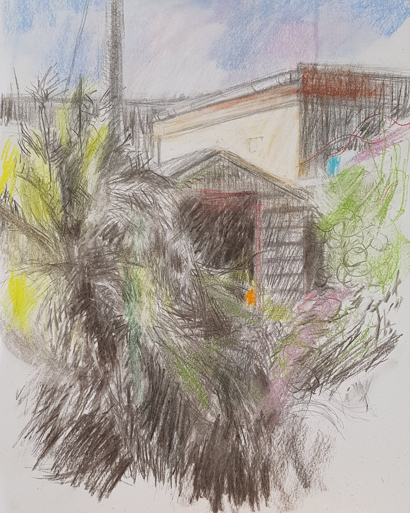 Charcoal drawing of garden shed and over-grown bamboo by Julia Laing (c)2021