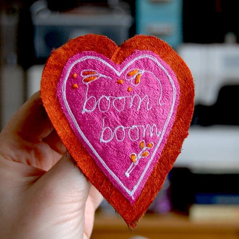 Brooch - Silk Heart - Boom Boom
