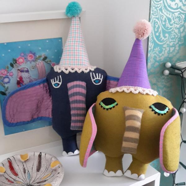 Textile art elephant dolls