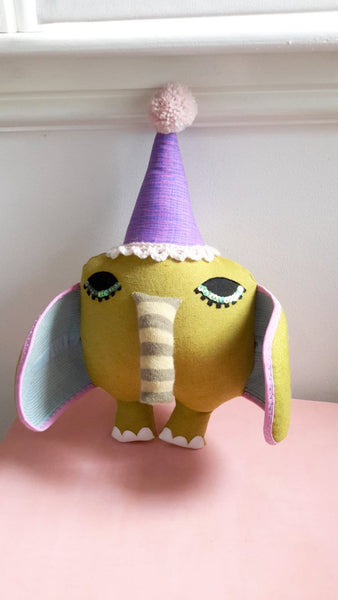 handmade elephant art doll by Julia Laing