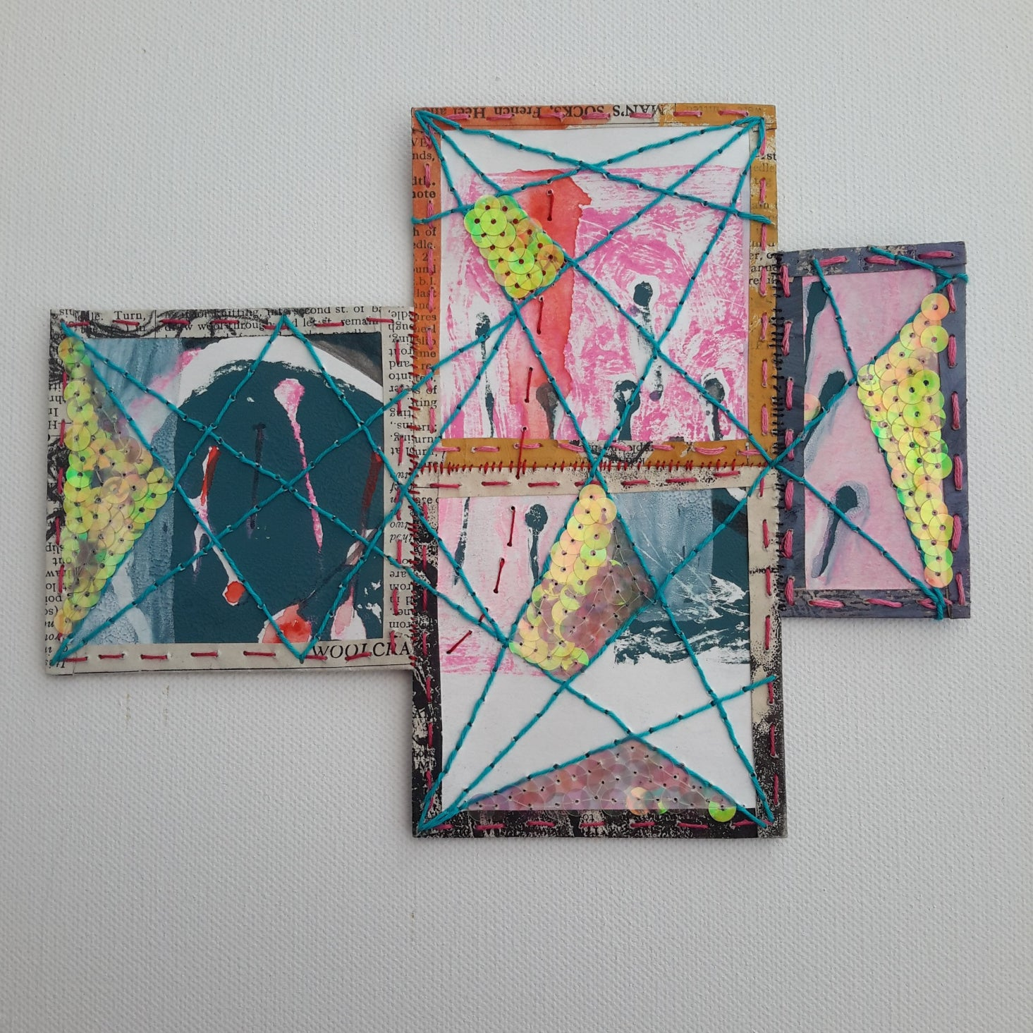 Abstract Textile Ar Patchwork by Julia Laing