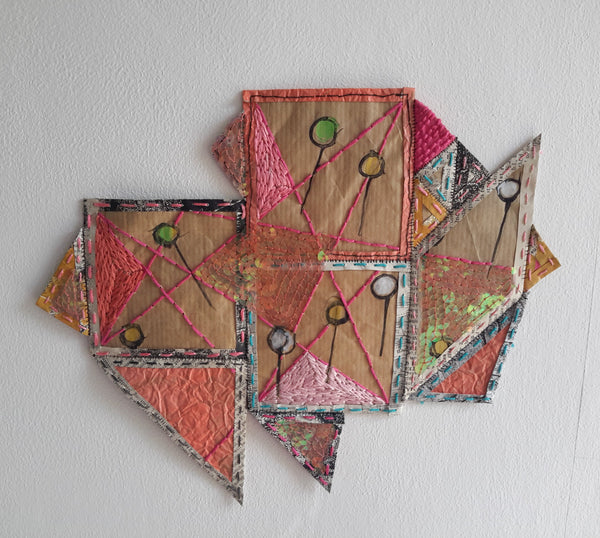 Geometric mixed media patches and pins number one by Julia Laing