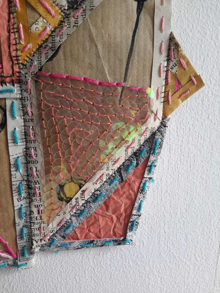 Geometric Paper Textile Art - Patches and Pins Number One