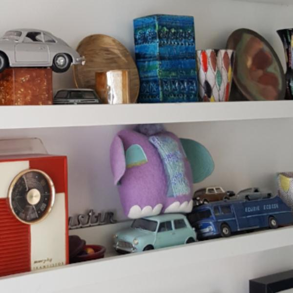 Purple elephant soft sculpture shelfie
