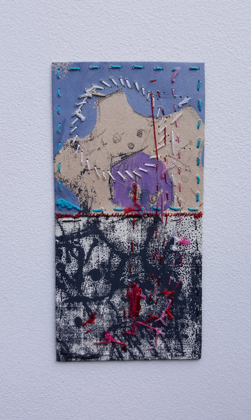 Small Paper Textile Art - Patches and Pins, Number Three