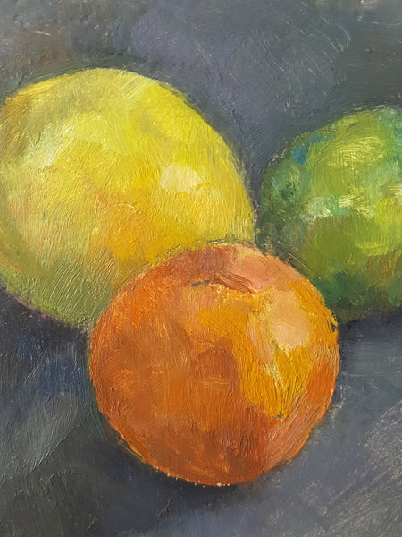 Citrus Still-life - Small Oil Painting On Canvas