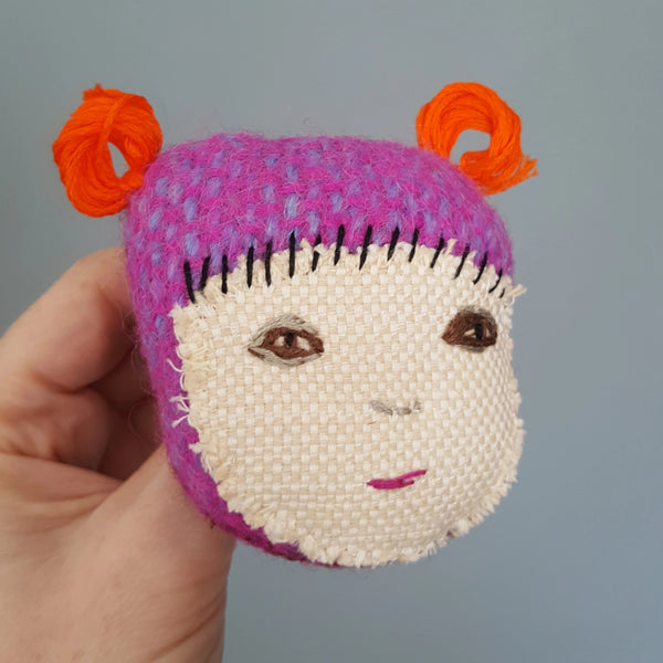 Hand Embroidered Doll Face - Textile Art Brooch