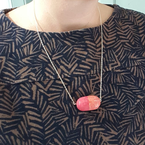 Stay Afloat Necklace -  Pink and Coral Colour Cork Float Amulet