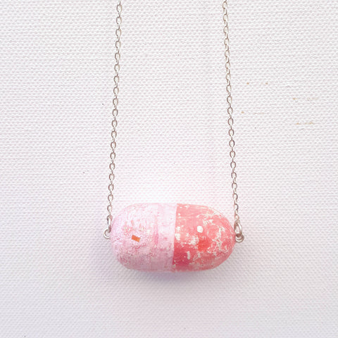 Stay Afloat Necklace - Cork Float Amulet - 2 Shades of Pink