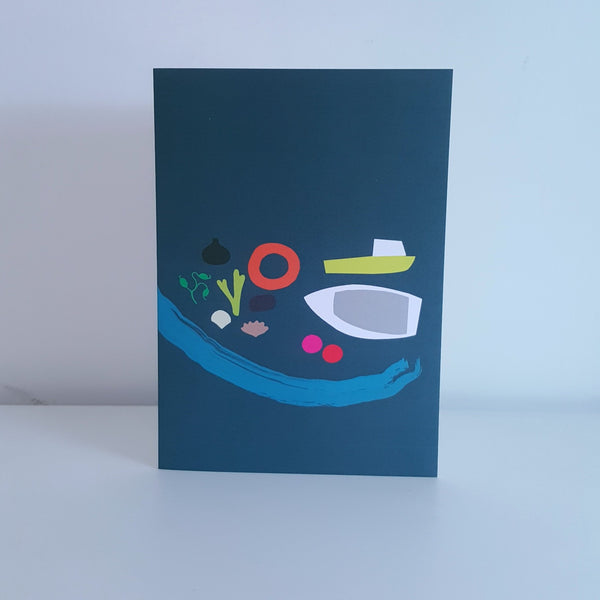 Harbour Boats greeting card by Julia Laing.