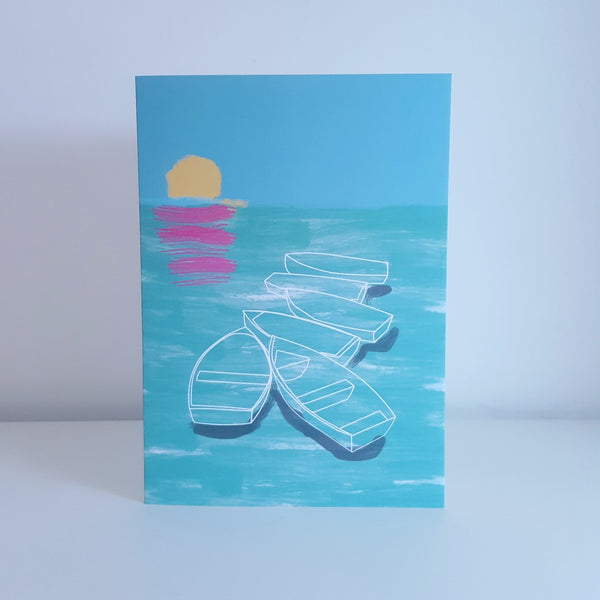 Ghost Boats Greeting Card by Julia Laing.