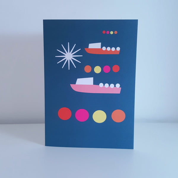Boats by Moonlight Greeting Card by Julia Laing