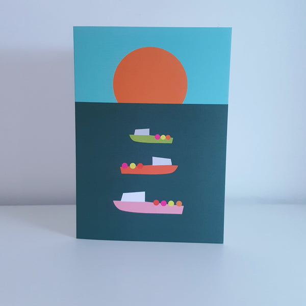 Boats at Sunset greeting card by Julia Laing.