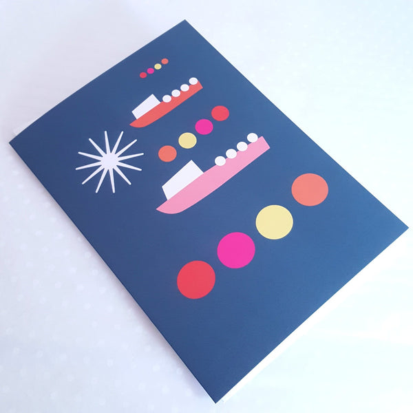 Boats by Moonlight greeting card by Julia Laing Studio.