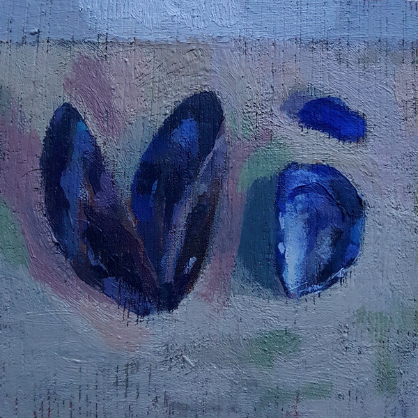 Mussels and Seaglass Study -  Small Original Painting