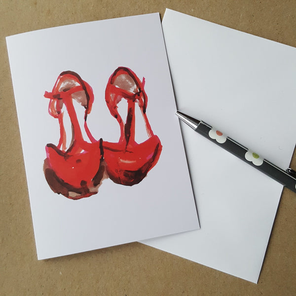 greeting card with red shoes design