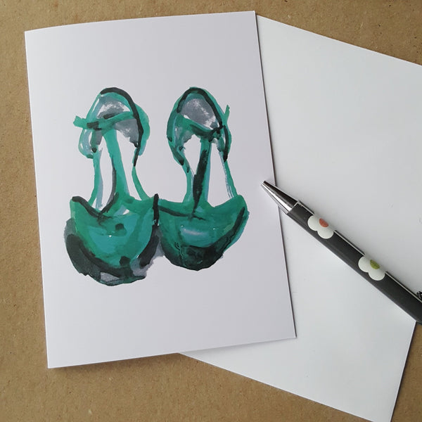 green shoes greeting card with white envelope