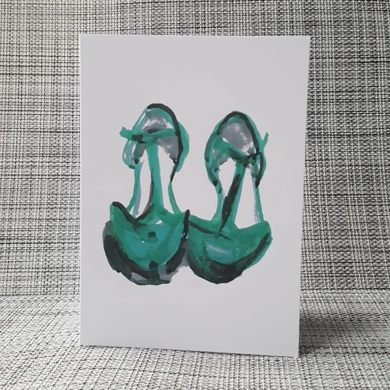 Green t bar shoes greeting card