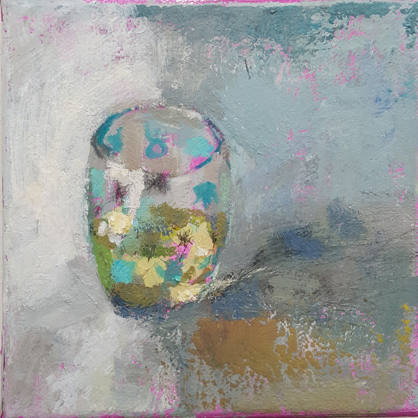 Painting of Lime Juice in A Tumbler . Acrylic on canvas by Julia Laing (c)2021