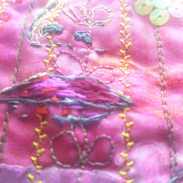 embroidery detail of lips