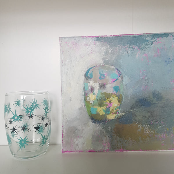 Lime Juice in a Tumbler - Small Acrylic Painting On Canvas