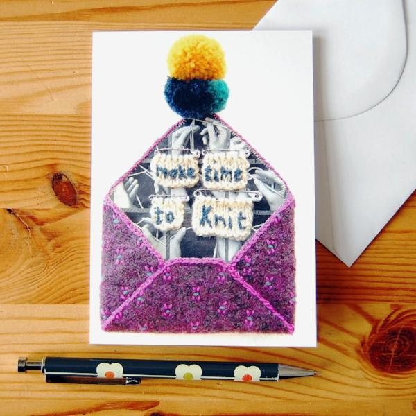 Greetings Card - Make Time To Knit