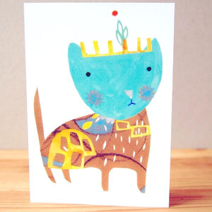 Greetings Card - Turquoise Kitty