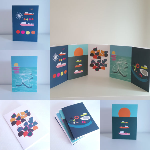 Set of 5 Greeting Cards - 5 different Coastal Inspired Designs